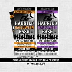 HALLOWEEN TICKET INVITATIONS Birthday or Costume Party (Printable Files) by nowanorris on Etsy