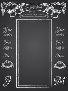 Beautiful Chalkboard Wedding Backdrop! Create a photo opportunity with this beautiful wedding backdrop! Use it during the ceremony as a backdrop while you are saying your vows, or set up a photo booth for yourself and guests.