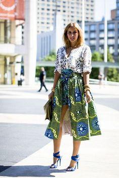 Beautiful African Fashion Glamsugar.com NYFW street fashion african print skirt