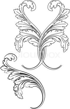 of 'Baroque Design Element Traditional Style. All Curves Separately. Baroque Pattern, Baroque Design, Filigranes Design, Design Elements, Arabesque, Illustration Art Nouveau, Wood Burning Patterns, Letter Stencils, Carving Designs