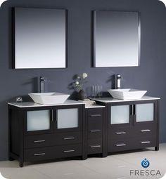 """Fresca Torino 84"""" Modern Double Bathroom Vanity w/ One Side Cabinet & Two Sinks"""
