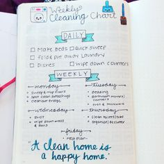 My cheat sheet to daily housework #loveandbujo #bujojunkies #bujo #cleaningtips