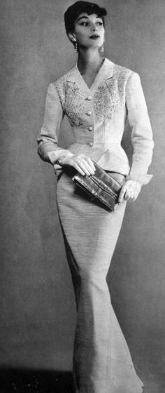 Pencil Dress Evening Gown. 1956 La Femme Chic