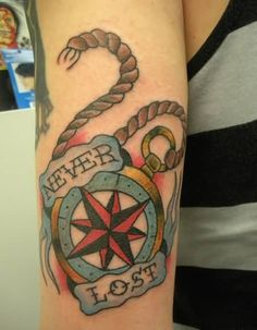 Lower Sleeve Cover Up With Wonderful Never Lost Banner And Red Compass Tattoo Design For Men
