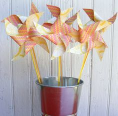 Bouquet of 6 Citron Lemon Paper Pinwheels by BakerStPaperGoods, $5.00