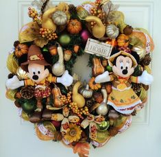 Mickey Mouse Thanksgiving   Thanksgiving Wreath Mickey and Minnie by ...   Fall/Thanksgiving