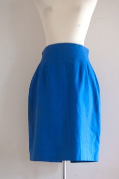 SALE 1980s Forwear New York royal blue skirt / vintage bright blue pencil skirt $11.67