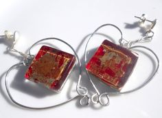 Heart earrings red earrings sterling silver by LaTerraCanta