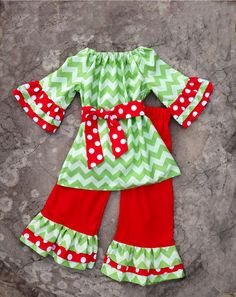 Girls Christmas Outfit Green Chevron Peasant tunic and boutique ruffled pants on Etsy, $75.00