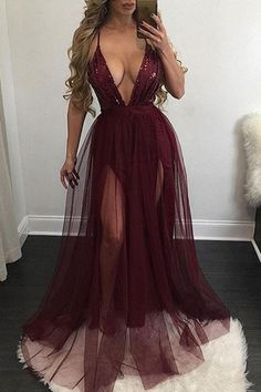 Burgundy tulle organza V-neck long dresses,sexy see-through summer dresses