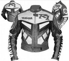 Yamaha R1 Motorcycle Gray Biker Leather Jacket With Safety Pads. #Handmade