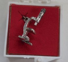 Sterling Silver Medical Charm - Vintage Microscope in Original Plastic Box..
