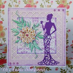 Lady in purple - DIES: DIES: Spellbinders Nestabilities Labels 47 ~~~ Joy Crafts Bille's Flourishes ~~~ Nellie Snellen Folding flower 2 ~~~ Tattered Lace Olivia Aliexpress Dies, Art Deco Cards, Tattered Lace Cards, Birthday Cards For Women, Spellbinders Cards, Dress Card, Elegant Lady, Paper Background, Creative Cards