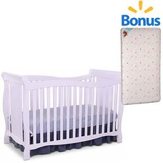 Delta Children's Products Brookside 4-in-1 Fixed-Side Crib with Bonus Mattress (Choose Your Finish)