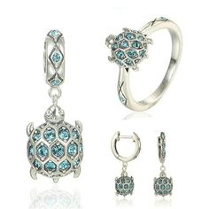 New handmade sterling silver turtle jewelry set with blue cz. fleur ·  badges, porte clef ... 79270e2bfe0