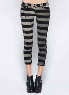 black and grey horizontal striped capri pants.
