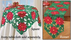 Cut-out Holiday Poinsettia Table Linens