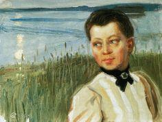 Akseli Gallen-Kallela aprilie 1865 - 7 martie pictor şi grafician finlandez - Mary Gallen on the Lakeshore at Lintula Finland Helene Schjerfbeck, Mary, Romantic, Couple Photos, World, Artwork, Oil Paintings, Portraits, Activities