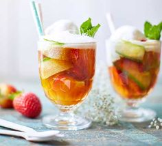 Pimms and slushie: two words you may not have considered together but which combine to make the ultimate summer drink. Lemon sorbet is the magic ingredient Pimms Cocktail, Cocktail Recipes, Drink Recipes, Frozen Cocktails, Summer Cocktails, Strawberry Slushie, Bbc Good Food Show, Lemon Sorbet, Bbc Good Food Recipes