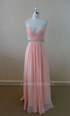 Sweetheart Sash Beaded Light Pink Evening dress Bridesmaid Dress prom Dress on Etsy, $120.00