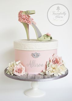 Shoe cake - Gumpaste stiletto and hatbox cake with sugarflowers - Bespoke design by Tastefully Yours Cake Art