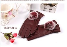 A good pu glove,soft and cool wind resistant~  http://www.aliexpress.com/store/product/Gloves-women-s-full-touch-screen-leather-gloves-female-rabbit-fur-ball-gloves-winter-thermal-plus/623303_32480934004.html