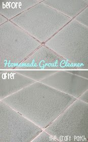 The Craft Patch: Pinterest Tested: Grout Cleaner Homemade 7 cups water 1/2 cup baking soda 1/3 cup lemon juice 1/4 cup vinegar