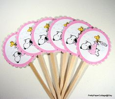 Snoopy Baby Girl Cupcake Toppers Baby Shower By PrettyPaperCottage