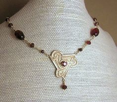 metal silver clay and garnets