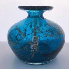 A Vintage Mdina Small Vase in Sand and Sea Colours. Signed with Label