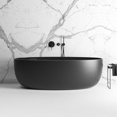This stunning black freestanding bath is an exquisite piece for the bathroom. Beautiful black stone bath made from Durastone. Black Bathtub, Black Tub, Bathroom Black, Small Bathroom, Bathroom Ideas, Le Shop, Wet Rooms, Bathroom Interior Design, Amazing Bathrooms