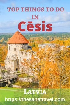 Cēsis is a beautiful medieval town in Latvia. It's worth visiting because of the Castle and exceptional historic feel. Town is especially awesome in autumn. Here is my selection of top 8 things to do in Cēsis. #travel #Europe #Latvia #Cesis #Autumn #Autumntravel #foliage #Balticstates