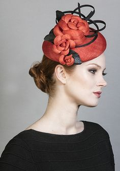 Rachel Trevor Morgan Millinery SS 2016 | R1692 - Orange fine straw pillbox with straw camellias