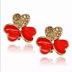 3 Leaf Clover Citrine CZ Red Earrings Brand New #E013 Jewelry Earrings