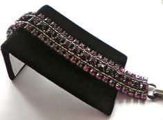 Vintage WEISS Rhinestone Bracelet  Sleek Gun Metal by JoolsForYou SOLD OUT  Thank You!