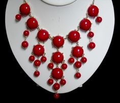 Retro Vintage Cherry Red Bubble Bib Statement Necklace for All Occasions…
