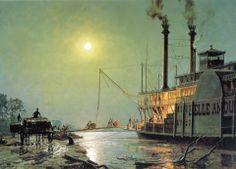 John Stobart - Night Call at Bayou Sara - Scrimshaw Gallery Nautical Artwork, Steam Boats, New England Fall, Beyond The Sea, Boat Art, Classic Paintings, Treasure Island, Limited Edition Prints, Night