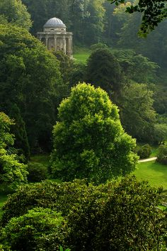 Stourhead gardens, Wiltshire. the temple of apollo above the trees