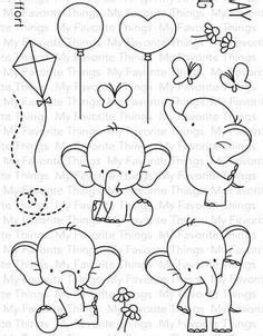Art Drawings For Kids, Doodle Drawings, Drawing For Kids, Easy Drawings, Doodle Art, Animal Drawings, Art For Kids, Baby Elephant Drawing, Colouring Pages