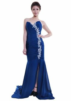 Moonar Chiffon Strapless Prom Gown Party Bridesmaid Wedding Dress