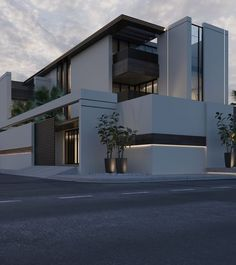 33 Lovely Modern Villa Exterior Design Ideas Luxury Look - SearcHomee Architecture Design, Minimalist Architecture, Modern Architecture House, Facade Design, Exterior Design, Modern House Facades, Compound Wall Design, Modern Villa Design, Contemporary Design