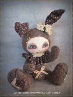 Wooly Lapin ♥ : laine feutrée, visage peint, et tissu assorti !
