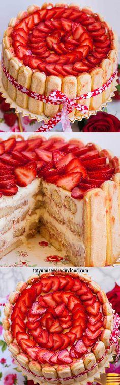 Strawberry Tiramisu Cake Recipe (video) - Tatyanas Everyday Food Strawberry Tiramisu, Strawberry Cake Recipes, Cuisinart Food Processor, Food Processor Recipes, Fun Desserts, Dessert Recipes, Pudding Recipes, Cupcake Recipes, Tatyana's Everyday Food