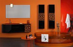 31 Astounding Orange Bathroom Design Ideas : 31 Astounding Orange Bathroom Design Ideas With Orange Wall And Glass Bathtub And Black Washbas. Orange Bathrooms Designs, Yellow Bathrooms, Bathroom Designs, Bathroom Ideas, Bathroom Inspiration, Shower Ideas, Bathroom Color Schemes, Bathroom Colors, Colorful Bathroom