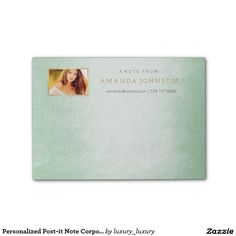 Personalized Post-it Note Corporate Glam Mint Post-it® Notes