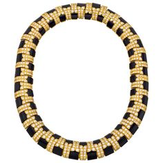 DAVID WEBB Black Onyx & Pavé Diamond Necklace | From a unique collection of vintage more necklaces at https://www.1stdibs.com/jewelry/necklaces/more-necklaces/