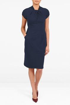 I <3 this Knot neck cotton knit sheath dress from eShakti
