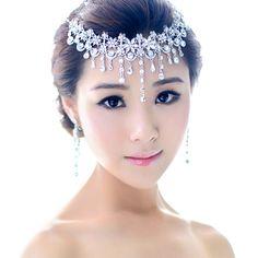 2013 Crystal Bridal Hair Jewelry Rhinestone Headbands Necklace Wedding Hair Accessories Pageant Quinceanera Tiara Crown WIGO0144 $35.63