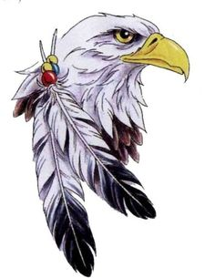 Bald+Eagle+Feathers | Eagle With Two Feathers Tattoo