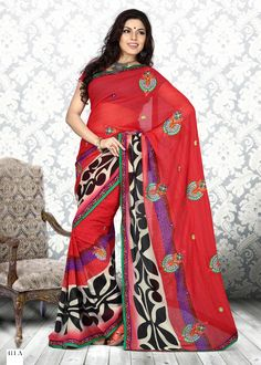Black & Red #Onlyokay Printed #Sarees  Black & Red ,printed fashion saree, has contrast print detail along the borders Comes with a blouse piece.Length: 5.5 metres plus 0.80 metre blouse piece.Available in 51% Discount @aimdeals